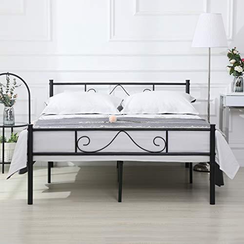 Aingoo Cama Doble Estructura de Cama de Metal 140 x 190 CM Negro