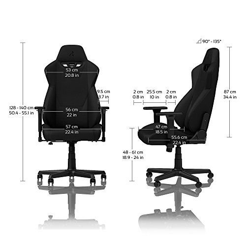 Nitro-Concepts S300 Chaise de Gaming - Chaise de Bureau - 135 kg - Inclinable de 90 ° à 135 ° - Réglable en Hauteur - Accoudoirs 3D - Noir