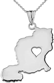 Fine Sterling Silver Fluffy Cat Silhouette Cut-Out Heart Pendant Necklace