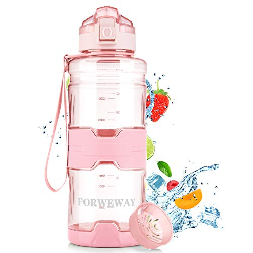 FORWEWAY Trinkflasche Sport 1,5 Liter BPA-Frei Wasserflasche Auslaufsicher Outdoor Tritan Kohlensäure Geeignet Sportflasche mit Filter Für Kinder Schule Gym Fitness Fahrrad Büro (Pink)