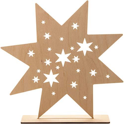 Spruchreif PREMIUM QUALITÄT 100% EMOTIONAL · Deko Stern aus Holz · Holz Stern zum Hinstellen · Tischdeko · Holzdeko · Dekofigur mit Sternen · Weihnachtsstern Weihnachtsdeko · Holz Deko Weihnachten