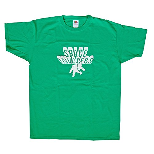 Budget Price Space Invaders T-shirt, Green for Men, XL Size