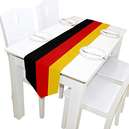 poeticcity German Flag Double Sided Oblong 13 X 70 inches Table Runner for Wedding Dining Room Kitchen Table Cloth Home Decor