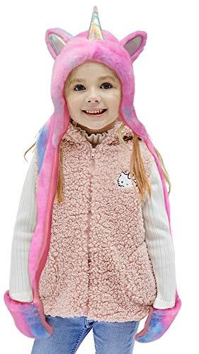 Gifts Treat Bufanda de Sombrero con Capucha para Niñas, Plush Unicorn Winter Hat Para Niños (púrpura, M)