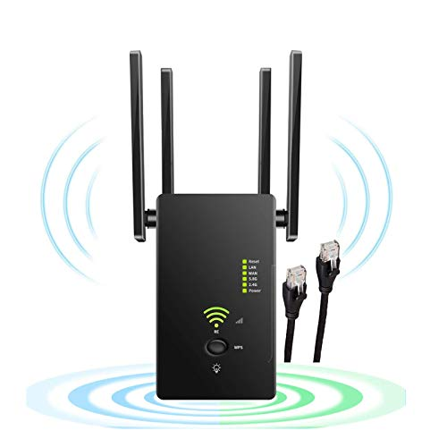 WiFi Range Extender, 1200Mbps Repeater Wireless Signal Booster 5GHz & 2.4GHz Dual Band with 4 Antennas 360 Degree Full Coverage Simple Setup Long Range up to 2500 FT