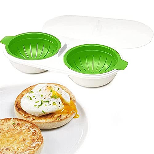 Draining Egg Boiler Microondas, Hervidor de Huevos para Microondas, Drenaje de la Caldera de Huevos,Taza Doble Hervidor de Huevos, CaracteríStica Antiadherente, BPA Free Verde