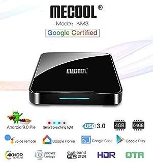 Profitech Communication® MECOOL KM3 Android 9.0 Pie ATV Amlogic S905X2 (4GB RAM + 64GB ROM) Dual WiFi 2T2R Bluetooth 4.0 Voice Remote Control Miracast Android TV Box