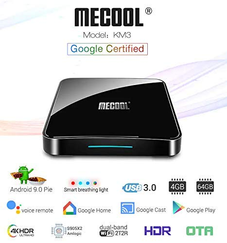 T96 PRO Profitech Communication MECOOL KM3 Android 9.0 Pie ATV Amlogic S905X2 (4GB RAM and 64GB ROM) Dual WiFi 2T2R Bluetooth 4.0 Voice Remote Control Miracast Android TV Box