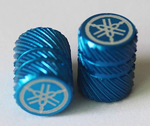 Yamaha 2er Set Original Stimmgabel Halbe Rändelrad Blau Reifen Ventil Staubkappen für Motorräder Fahrräder, ATV Auto