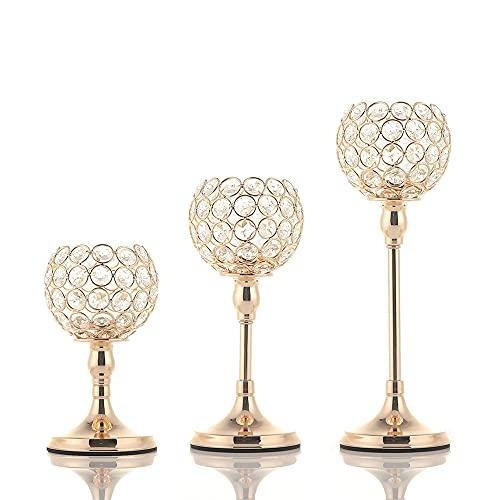 Vincidern Gold Crystal Candle Holder