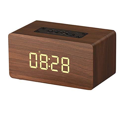 DZSF Holz Bluetooth Lautsprecher Wecker Wireless Portable HiFi Shock Bass TF Soundbar MP3...