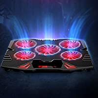 Laptop Cooling Pad 5 Fan and USB 2.0 Ports Laptop Cooler with Light LED Display Adjustable 5Speed Notebook Stand for 12-16 inch