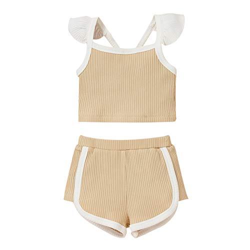 NCONCO Ubrania dla noworodka dla dziewczynek stroje marszczone bezrękawnik koszulka szorty