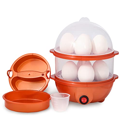 Tormeti® Double Layer Electric Egg Boiling Steamer With 2 Omelet ring, Egg Boiler Electric Automatic off with Egg Boiler Machine Non-Stick Electric Egg Poacher (Multicolour)