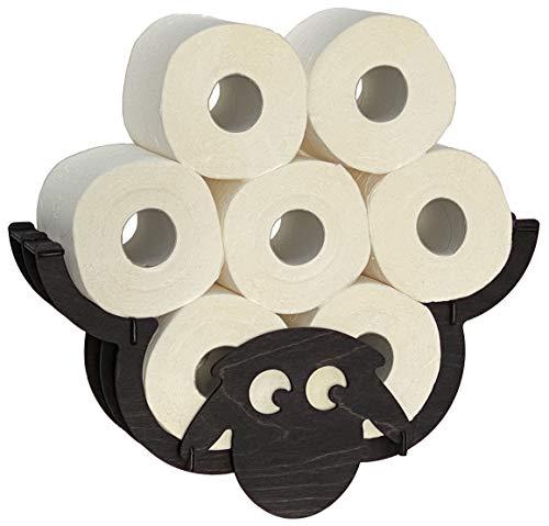 DanDiBo Toilettenpapierhalter Schaf Wand Schwarz Holz Toilettenrollenhalter WC Rollenhalter Ersatzrollenhalter Klopapierhalter
