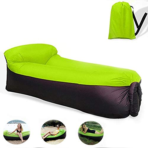 BeIM Hamac Gonflable Portatif Pliable avec Un Petit Sac Air Sofa Imperméable (Vert)