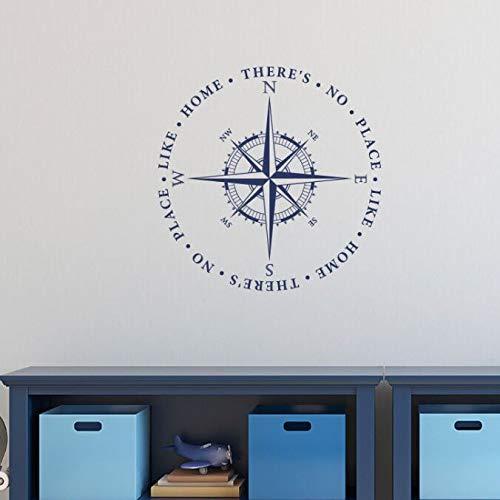 ASFGA Geographie Rose Kompass Vinyl Wandtattoo Wohnzimmer Dekoration kein Ort wie EIN Kompass wie Kinderzimmer Wandaufkleber Innendekoration 42x42cm