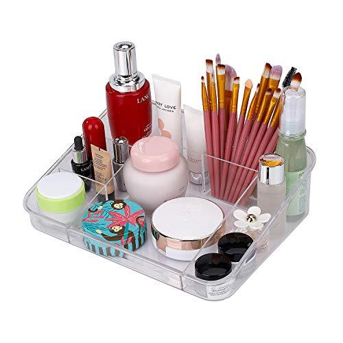 MaoXinTek Kosmetik Aufbewahrung Make-up Organiser aus Acryl für Schubladen Bad mit 8 Fächern, Kosmetikpinsel Behälter Durchsichtig Kunststoff