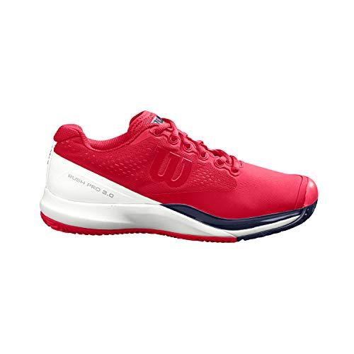 Wilson Rush Pro 3.0 Clay W, Zapatilla de Tenis, para Tierra Batida, Tenistas de Cualquier Nivel Mujer, Rojo/Blanco/Negro, 41 EU