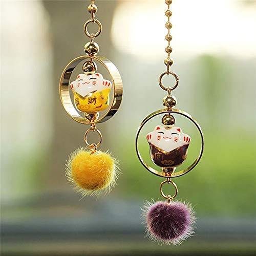 DBDCH auto-hanger, leuke decoratie, gelukkige kat, versiering, ornamenten, auto-interieur, achteraankijk, spiegel, keramiek, mascotten, hangen, trim geschenken