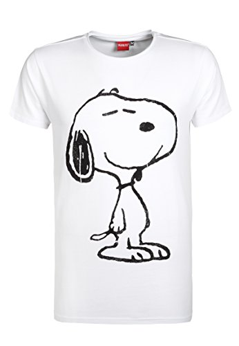 Sublevel Herren T-Shirt mit Snoopy Print | Cooles Comic Shirt White S