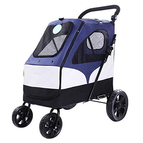 M-YN Hunderollstuhl, Große Pet Stroller großen Hund Trolley Folding großen Raum Bearing 55KG for Outbound Nutzung, 4 Wheel (Color : Blue)