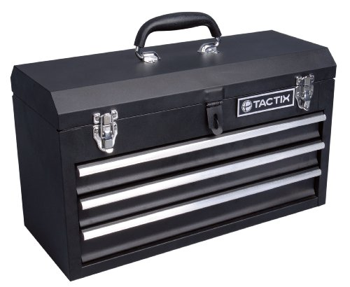 Tactix 321102 3 Drawer Steel Portable Tool Box, 52cm