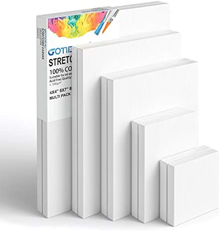 GOTIDEAL Stretched Canvas Multi Pack 4x4 5x7 8x10 9x12 11x14 Set of 10 Primed White 100 Cotton product image