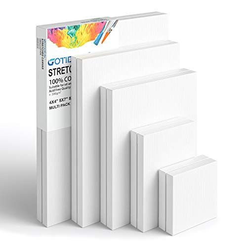 """GOTIDEAL Stretched Canvas, Multi Pack 4x4"""", 5x7"""", 8x10"""",9x12"""", 11x14"""" Set of 10, Primed White - 100% Cotton Artist Canvas Boards for Painting, Acrylic Pouring, Oil Paint Dry & Wet Art Media"""