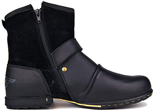 OTTO ZONE Leather Chukka Boots for Men Fashion Zipper-up Boots Casual Shoes by OZ-5008-1 Size (Men 10(M) US 44EU, Black)