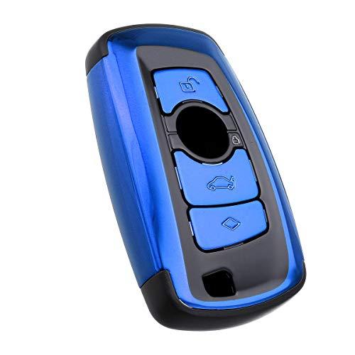 BEIJING  PROTECTIVECOVER+ / Cubierta DE TECLA Smart SMARTH DE ABS Fob Caso DE Caso DE Fob para COMPATISIBLE con Compatible with BMW M5 M6 1 3 4 5 6 Series, Caja de protección de Moda (Color : Azul)