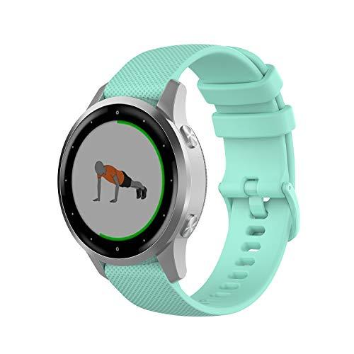 Wownadu 18MM Correa Compatible para Garmin Vivoactive 4S, Compatible para Garmin Vivomove 3S Correa Mujer Hombre Pulsera Recambio Sport Silicona Band Verde azulado (sin Reloj)