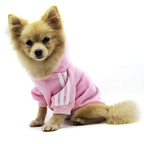 QiCheng & LYS Felpa Cane, Pet Puppy Cat Cute Cotton Warm Hoodies Sweater Abbigliamento Chihuahua (Rosa, S)