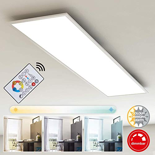 Briloner Leuchten LED plafondlamppaneel, dimbaar, kleurtemperatuurregeling, afstandsbediening, 36W, 3800 lm, LED-lamp, plafondlamp, wit, 1,20 m