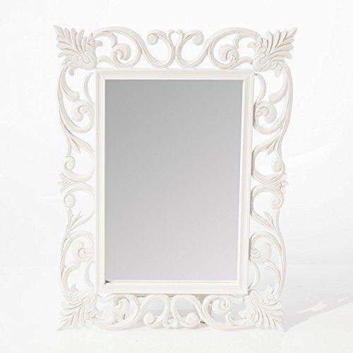 DiKasa Specchio MDF con cornice traforata Shabby Chic, 60X80 cm, Bianco