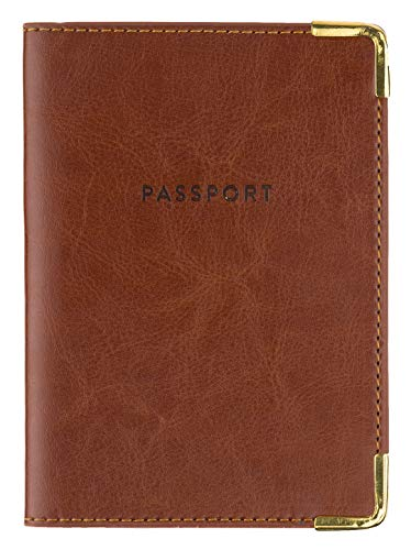 Eccolo Travel Passport Cover Case with Storage Pocket, Brown Legend Leatherette