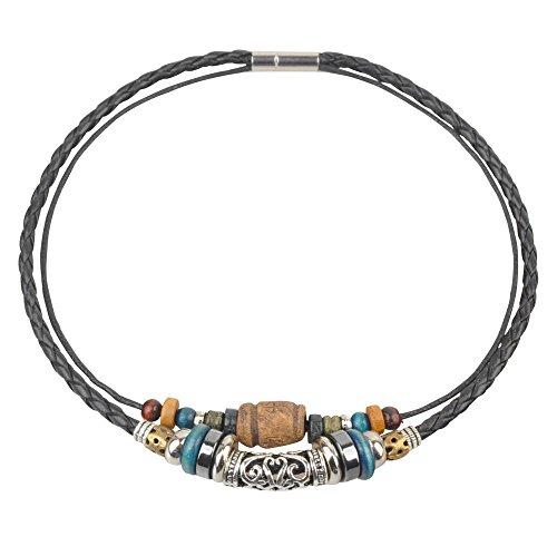 Collana girocollo con perline in pelle di canapa, stile antico tribale, 38,1 cm, nero