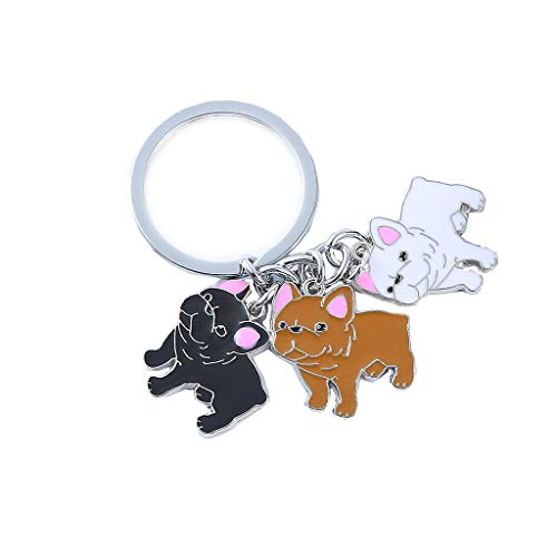 Mummumi Pet Keychain,Three Cute Dogs Pendant Style Lovely Jewelry Dog keying Bag Charm Metal Pet Key Ring for Hoilday Birthday Gift (French Bulldog Three Color)