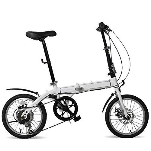 DGPOAD Foldable Bicycle 16 Inch, Children Youth Mountain Bike, Unisex Lightweight Commuter Bike, 21 Speed Steel Frame Foldable Kids Bike with Disc Brake/White