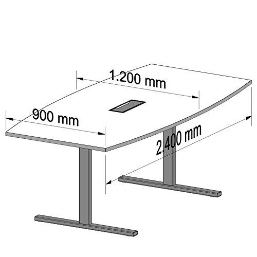 Easy Konferenztisch Bootsform 240x120 cm Weiß mit Elektrifizierung Besprechungstisch Tisch, Gestellfarbe:Schwarz