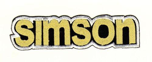 Aufnäher Bügelbild Aufbügler Iron on Patches Applikation Simson Schriftzug Moped DDR Suhl Werk S50, S51, S70, Schwalbe 9 x 2,6 cm