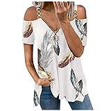 Qigxihkh Damen Sommer Tops Bluse Mode Casual Bequem Kurzarm T-Shirt Oberteile Frauen Feder Print V-Ausschnitt Reißverschluss T-Shirt Schulterfrei Sling Kurzarm(1-Grau, XXL)