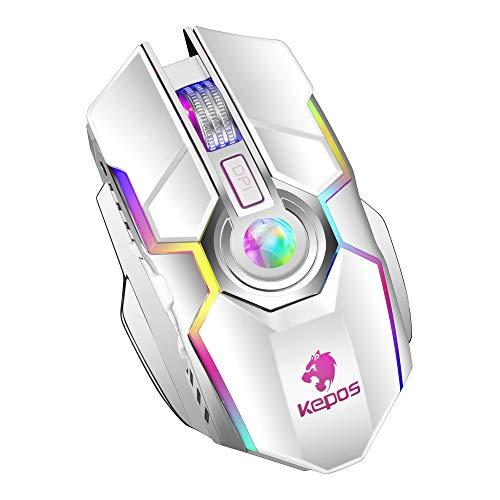 ZERODATE Wiederaufladbare 2,4G-Kabellos-Gaming-Mäuse mit USB-Empfänger und RGB-Hintergrundbeleuchtung,Stilles Klicken für Laptop,Computer-PC und MacBook (600-Mah-Lithiumbatterie) -Weiß