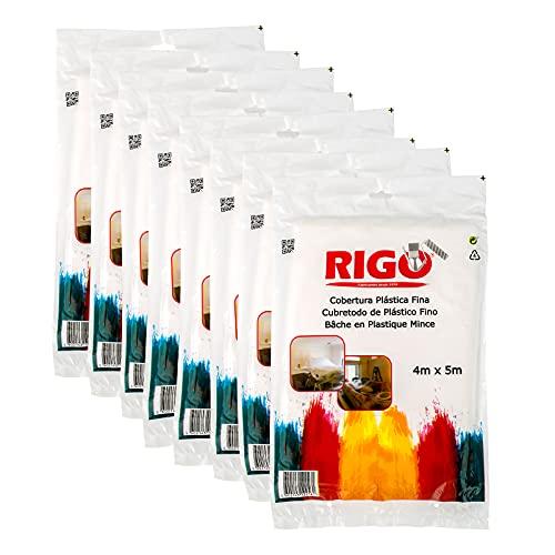 RIGO Plastico Cubretodo 4x5m (8 UNIDADES), Plastico Protector Para Cubrir Muebles y Suelos (20m3) - Evita Polvo, Suciedad, Pintura, Humedad, etc.