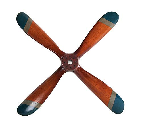 G565 Linoows: Propeller Plane, Old 4 Wooden Propeller Blade, Blue Tips Ww II