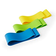 These loops come in three resistance levels (light, medium, and heavy). Perfect for sculpting a firm, round booty, shaping your legs and thighs, tightening and flattening your core, and toning your arms and shoulders. YELLOW = Light Resistance, GREEN...