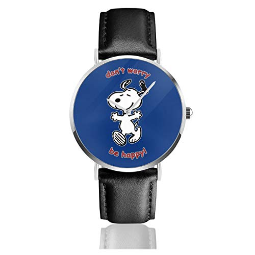 Unisex Business Casual Snoopy Dont Worry Be Happy Uhren Quarz Lederuhr mit schwarzem Lederband für Männer Frauen Junge Kollektion Geschenk