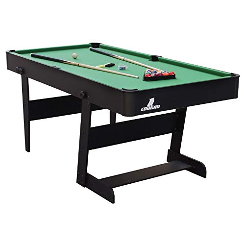 Cougar Hustle L Billardtisch 5ft in Schwarz / Grün | Pooltisch klappbar inkl. Zubehör | Tischbillard für Kinder und Erwachsene | Indoor Pool