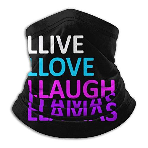 Dydan Tne Live Love Laugh Llamas Unisex Cuello Calentador Headwear Cara Bufanda Máscara para Esquiar
