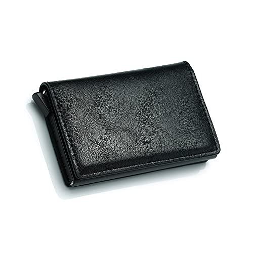 Cartera para Hombre Bloqueo RFID NFC Cartera para Tarjetas de crédito protección tamaño Compacto para hasta 9 Tarjetas y Billetes para Padres maridos